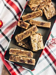Chocolate Bourbon Pecan Blondies are chewy, nutty delights.