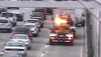 A northbound four-car accident blocks the right lane on the northbound Tappan Zee Bridge Oct. 24, 2015, in this state Thruway Authority traffic camera image. The accident was cleared but left residual delays.