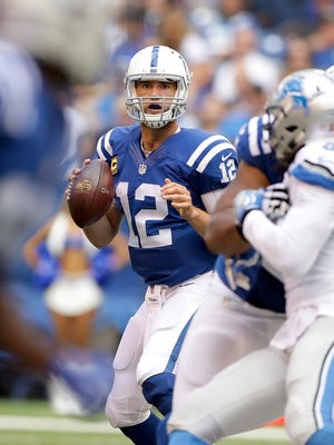 Indianapolis Colts quarterback Andrew Luck (12) looks for someone to pass to in the first half of their game Sunday, September 11, 2016, afternoon at Lucas Oil Stadium.