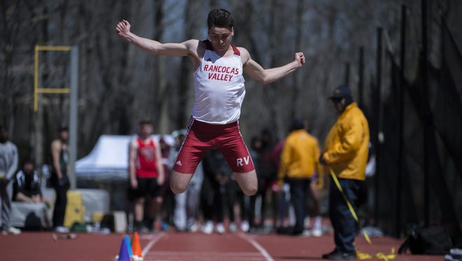 Rancocas Valley's Liam Alderman competes in the long jump during the Moorestown Invitational track meet on Saturday.