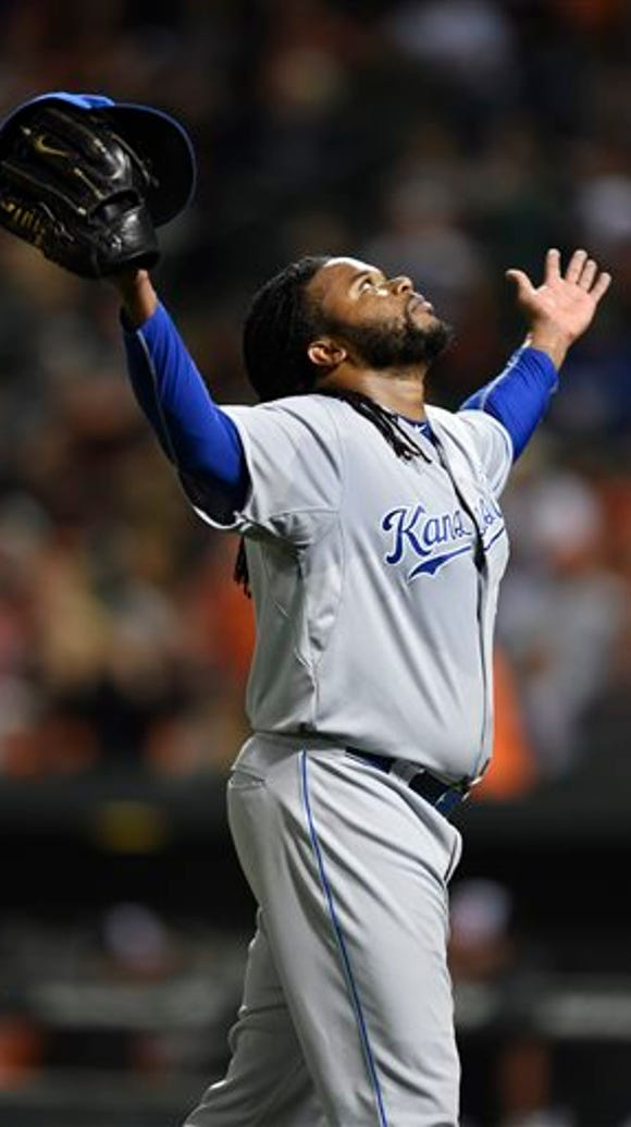 Kansas City Royals starting pitcher Johnny Cueto reacts
