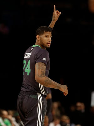West Team's Paul George of the Indian Pacers  (24) moves down the court during the NBA All Star basketball game, Sunday, Feb. 16, 2014, in New Orleans. (AP Photo/Gerald Herbert)