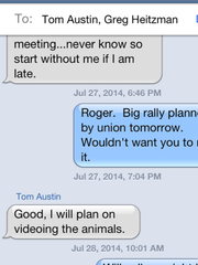 This is screen grab of text message from former MSD board chair James Craig, which Craig says shows how MSD vice chair Tom Austin called MSD laborers 'animals.'