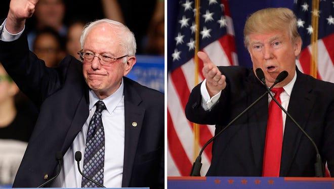 Bernie Sanders, left, and Donald Trump.