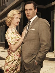 January Jones as Betty Draper and Jon Hamm as Don Draper,