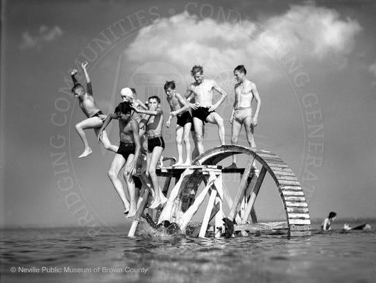 Swimming at Bay Beach ca. 1940.