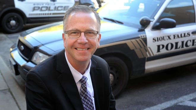 Police Chief Doug Barthel works at the Law Enforcement Center in Sioux Falls, SD; Friday, Oct. 9, 2015. Barthel is retiring on Oct. 19th.