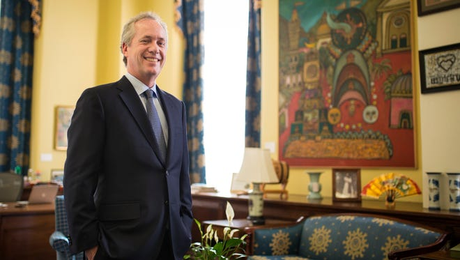 Louisville Mayor Greg Fischer inside his office after sitting down with The CJ to discuss his thoughts on 2016 and what lies ahead. Dec. 29, 2016