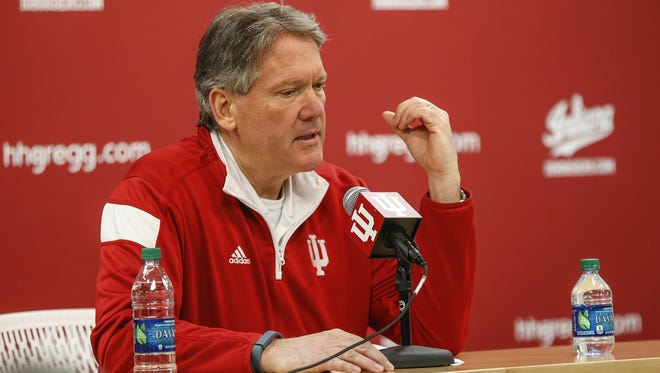 Fred Glass, Indiana University athletic director, addresses the firing of men's head basketball head coach Tom Crean during a press conference at Simon Skjodt Assembly Hall in Bloomington, Ind., on Thursday, March 16, 2017.