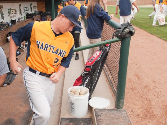 Hartland pitcher Kyle Kletzka takes the field with