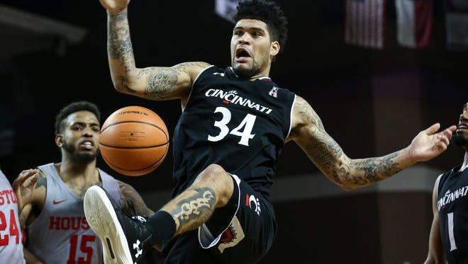 Feb. 15: Cincinnati guard Jarron Cumberland loses control of the ball during the second half against Houston at Health and Physical Education Arena in Houston.