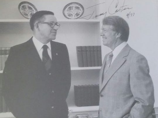 Stan Schneider (left) with President Jimmy Carter during his stint as president of Kiwanis International in the late 1970s.