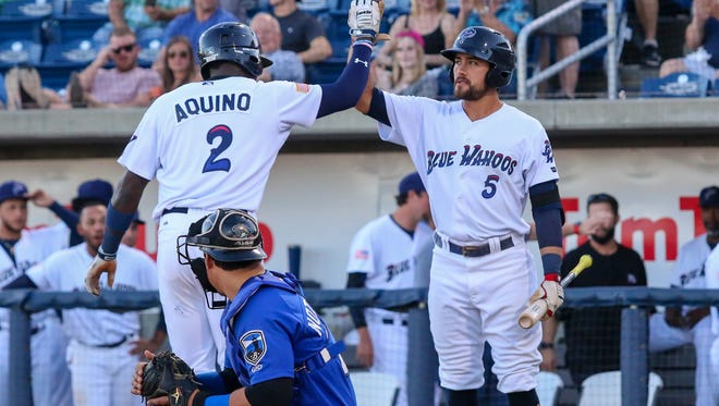 The Blue Wahoos Alex Blandino (No. 5), shown in earlier game this season, had a big night Monday in Mobile against BayBears and Aristides Aquino (2) continued his on-base streak in 7-4 win.