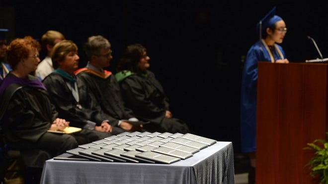 In this May 2019 photo, Aireonna Lance gives the welcome at Henderson County Early College High School's graduation.
