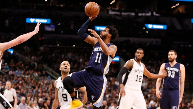 Grizzlies point guard Mike Conley (11) shoots over San Antonio Spurs power forward David Lee (not pictured) during the first half of Game 5 of the first-round series on April 25, 2017.