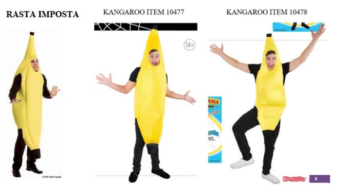 A lawsuit filed by Rasta Imposta shows similiarities between banana costumes made by the Runnemede firm and a competitor.