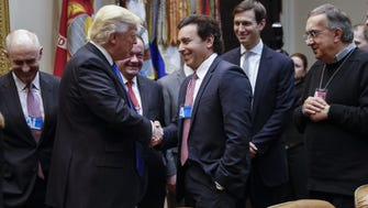 President Trump greets Ford CEO Mark Fields in a meeting Jan. 24 at the White House that included Fiat Chrysler CEO Sergio Marchionne and General Motors CEO Mary Barra.