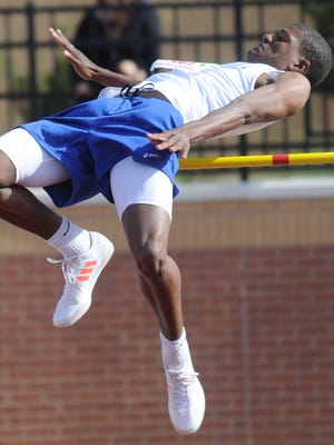 Cooper senior Elijah Brown clears 6 feet on his opening height in the high jump at the Region I-5A meet Friday, April 28, 1017 at Lowrey Field in Lubbock. He finished fifth with a 6-5.