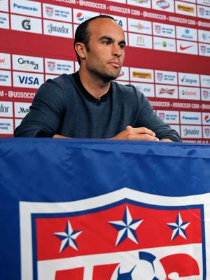 speaks about his retirement from soccer during a press conference before the U.S.'s friendly against Ecuador