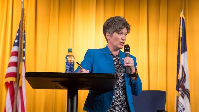 Sen. Joni Ernst holds a town meeting in Harlan Monday, July 10, 2017.