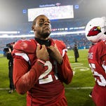 Arizona Cardinals' Patrick Peterson reacts after video replay reversed a call against the Kansas City Chiefs in the fourth quarter at University of Phoenix Stadium in Glendale on Dec. 7, 2014.