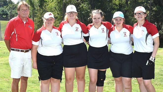 Members of the 2020 Minerva girls golf team are (left to right) Head Coach Jake Keister, Calee Lukowski, Kassadee Archer, Gianna Miller, Libby Barr and Danielle Weiss.