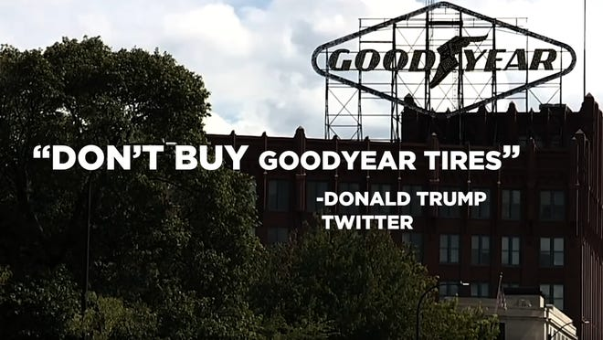 Akron's iconic Goodyear sign is shown in a still image from the new Lincoln Project ad released Friday.