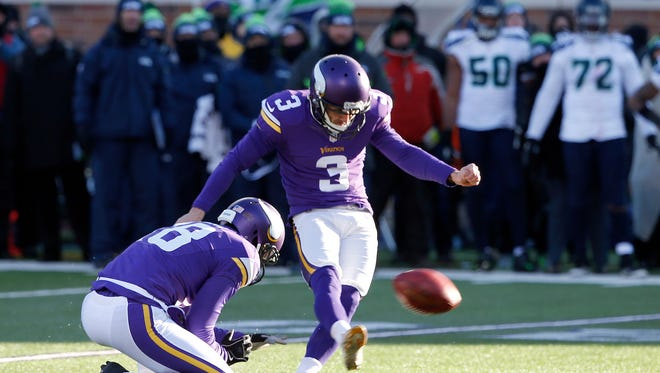 Minnesota Vikings kicker Blair Walsh (3) misses a field goal during the second half of an NFL wild-card football game against the Seattle Seahawks, Sunday, Jan. 10, 2016, in Minneapolis. The Seahawks won 10-9.