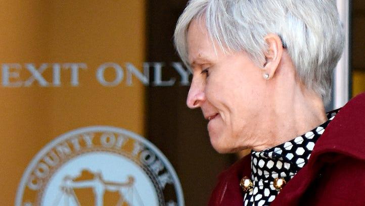 Michele Merkle exits the York County Judicial Center