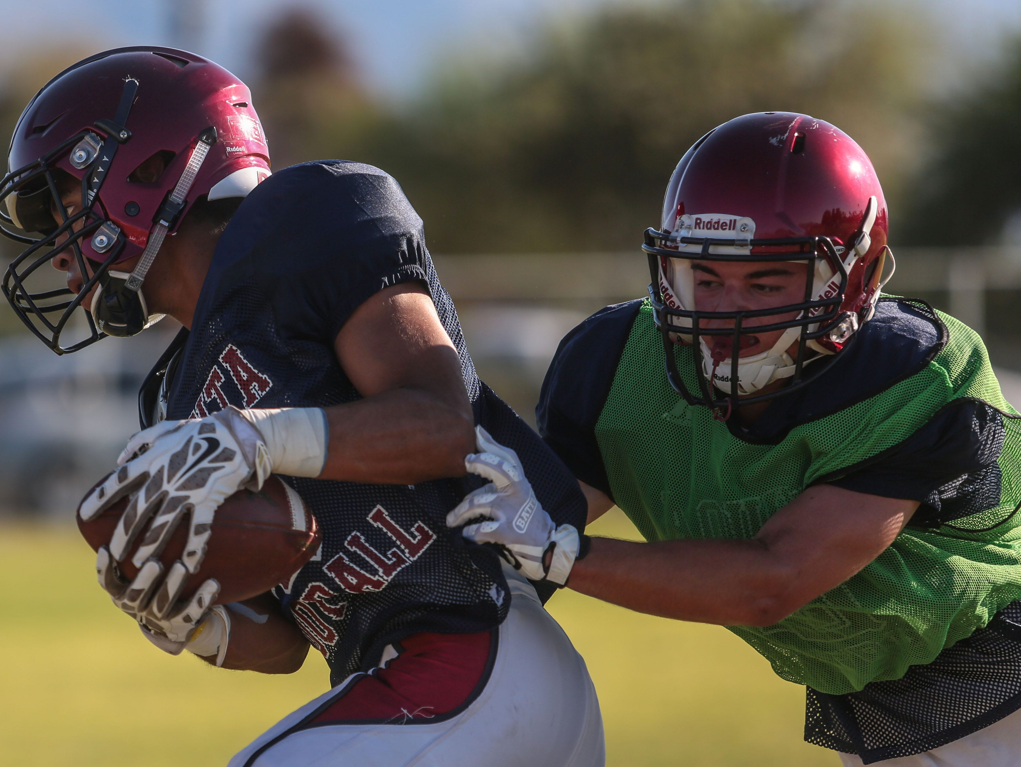 The La Quinta football team practice on Tuesday, August 16, 2016 in La Quinta.