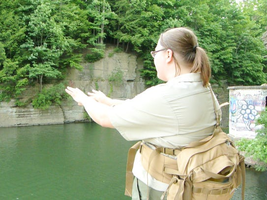 Ithaca Gorge Ranger Brittany Lagaly warns people on