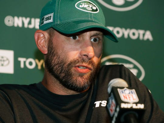 New York Jets head coach Adam Gase speaks to the media after an NFL football game against the New England Patriots, Sunday, Sept. 22, 2019, in Foxborough, Mass. (AP Photo/Steven Senne)