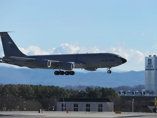 "A 134th Air Refueling Wing KC-135 lands on runway ""5R/23L"""