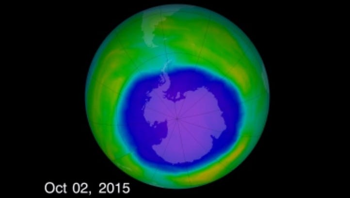 The ozone hole reached its largest size of the year on Oct. 2, 2015.