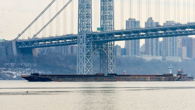 A oil barge being pushed up the Hudson River by tugboat Helen Laraway last week.