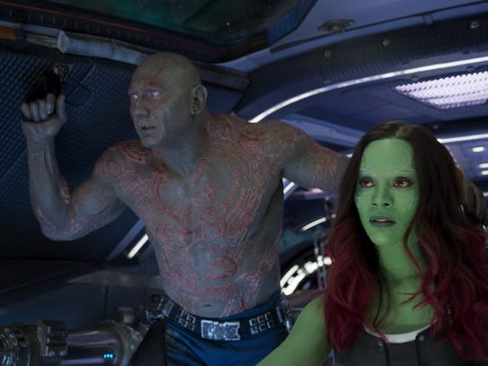 Drax (Dave Bautista, left) and Gamora (Zoe Saldana)