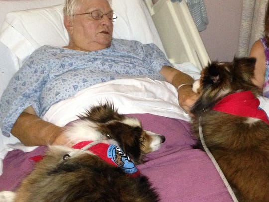 Brutus & Tytus visiting a patient in the hospital.