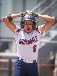 Urbandale junior Skyler Shellmyer reacts after the