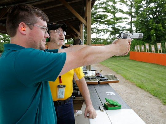 A reminder that two Sheboygan County clubs will provide deer/gun season sight-ins.In the picture, Trevor Irish of Sheboygan, left, aims a pistol under the guidance of instructor Zane Teboe of Sheboygan at the Sheboygan Rifle and Pistol Club near Haven.