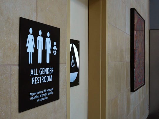 'All Gender' bathroom sign at San Diego's airport.