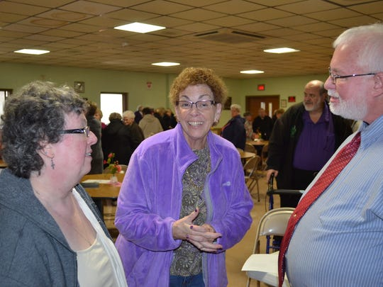 Pastor Pat Schneider of Vickery United Methodist Church, Pastor Christine Tobergte of Green Springs United Methodist Church and Marshall Crawford of Calvary United Methodist Church in Green Springs talk after the first of the weekly Lenten luncheon series.
