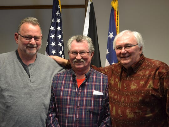 Left to right are Gene Bihn, Ernie Hopkins, and Ken Monnin, three men who make up part of a committee planning the fifth and final Vietnam Veterans Commemoration Day.  This year's event will feature the traveling wall, a replica of the Vietnam War Memorial in Washington D.C.  People are encouraged to visit the wall and attend the event to honor Vietnam veterans.