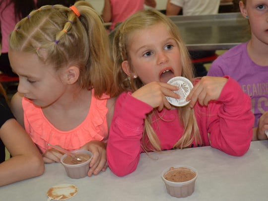 Solomon students enjoyed ice cream paid for by Woodville Mayor Rich Harman.