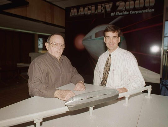 In 1998, Joel Taft of Maglev 2000, left, and Bill Hutto,