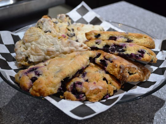 Ignite sells a variety of freshly made pastries, like these scones made by local baker Bev Hoffman.