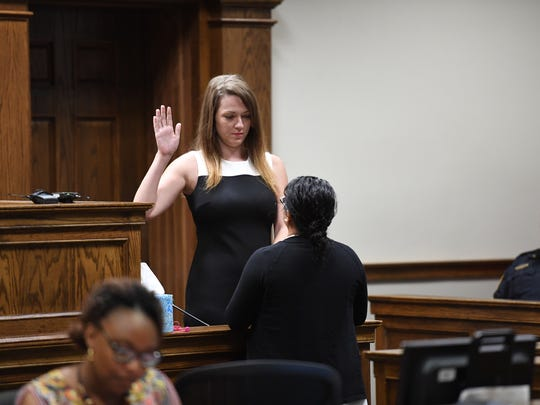 Kala Brown testifies in court on Wednesday, July 11, 2018.