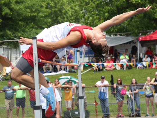 Shelby's Uriah Schwemley won a state high jump title as a junior.