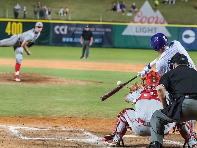 LSU catcher Michael Papierski strikes out as the Ragin'