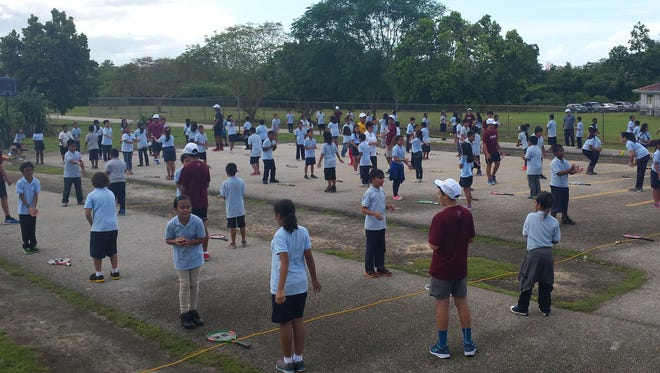 Tennis Academy of Guam licensed and volunteer coaches conduct a youth tennis course as part of the USTA Schools Program for more than 150 students at Juan M. Guerrero Elementary School. The academy is offering training sessions at the Hilton Guam Resort and Spa through January.