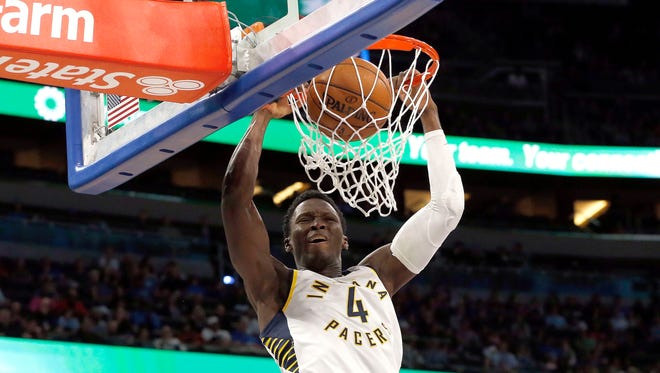 Nov 20, 2017; Orlando, FL, USA; Indiana Pacers guard Victor Oladipo (4) dunks against the Orlando Magic during the second quarter at Amway Center. Mandatory Credit: Kim Klement-USA TODAY Sports